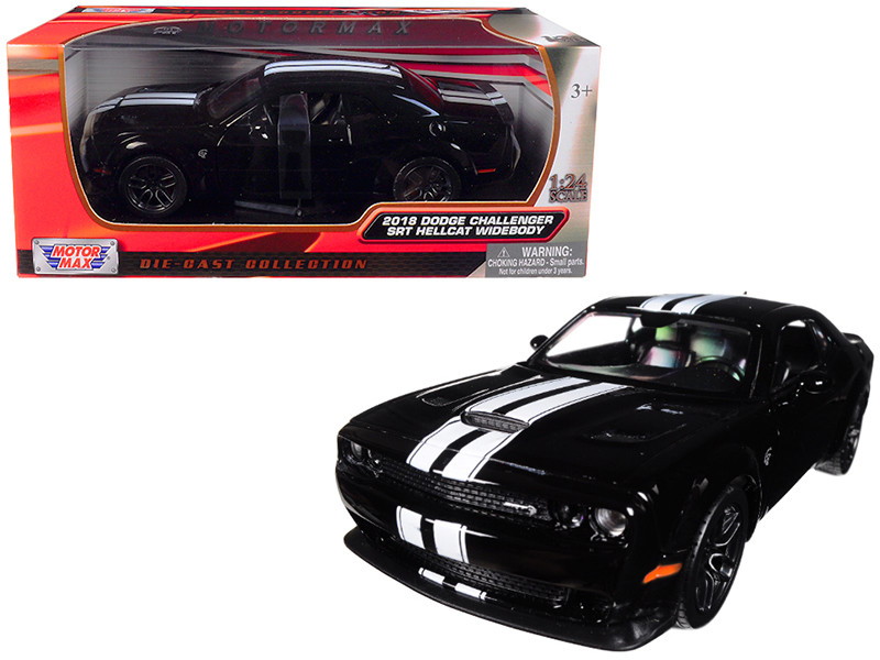 2018 Dodge Challenger SRT Hellcat Widebody Black with White Stripes 1/24 Diecast Model Car by Motormax