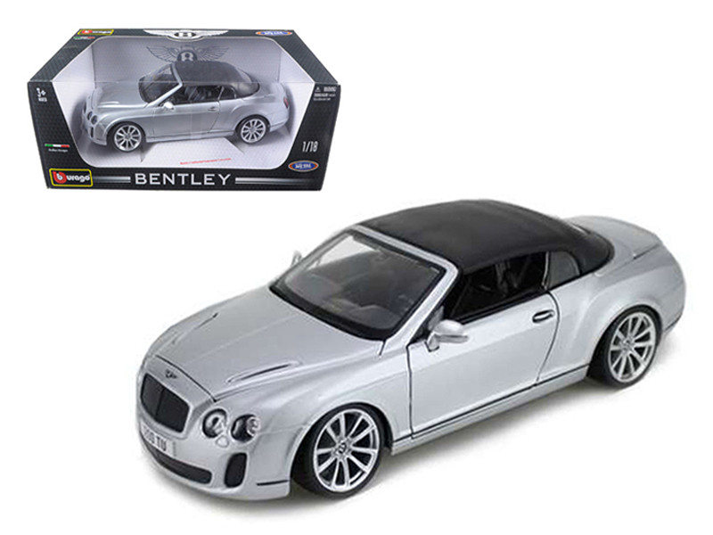 2012 2013 Bentley Continental Supersports Soft Top Silver 1/18 Diecast Car Model Bburago 11037