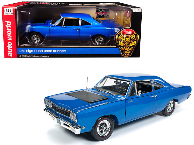 1968 Plymouth Road Runner Electric Blue Looney Tunes Class of 68 Limited Edition 1002 pieces Worldwide 1/18 Diecast Model Car Autoworld AMM1125