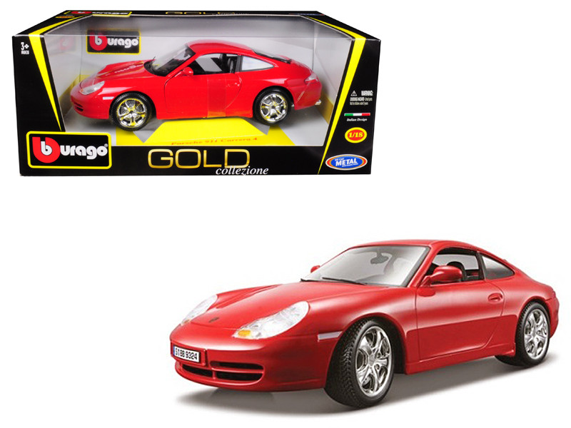 Porsche 911 Carrera 4 Red Gold Collezione 1/18 Diecast Model Car Bburago 12037