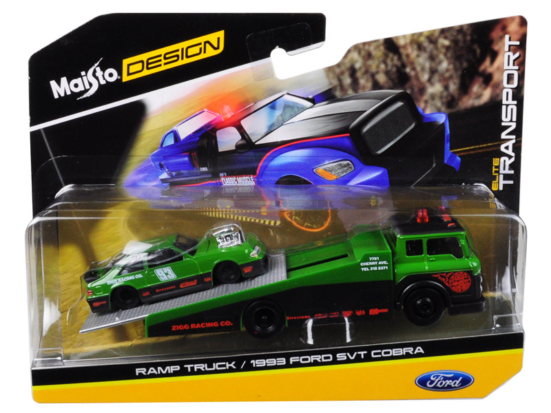 1993 Ford SVT Cobra #93 Green Black Ramp Tow Truck Elite Transport 1/64 Diecast Models Maisto 15055 C