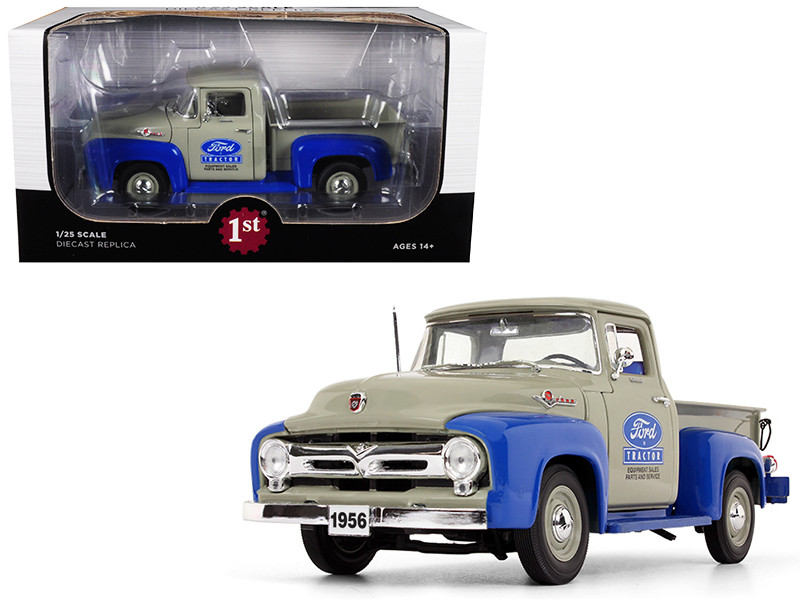"1956 Ford F-100 Pickup Truck High Feature ""Ford Tractor Equipment Sales"" Gray and Blue 1/25 Diecast Model Car by First Gear"