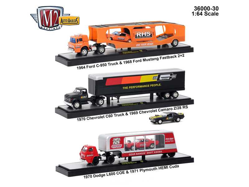 Auto Haulers Release 30 3 Trucks Set 1/64 Diecast Models M2 Machines 36000-30