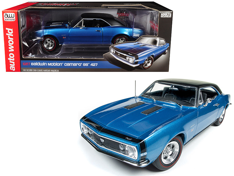 1967 Chevrolet Camaro SS 427 Baldwin Motion Marina Blue Black Hardtop 50th Anniversary Limited Edition 1002 pieces Worldwide 1/18 Diecast Model Car Autoworld AMM1118