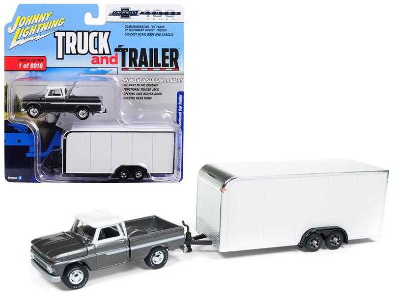 1965 Chevrolet Pickup Truck Dark Silver Enclosed Car Trailer Limited Edition 6016 pieces Worldwide Truck and Trailer Series 2 Chevrolet Trucks 100th Anniversary 1/64 Diecast Model Car Johnny Lightning JLSP017
