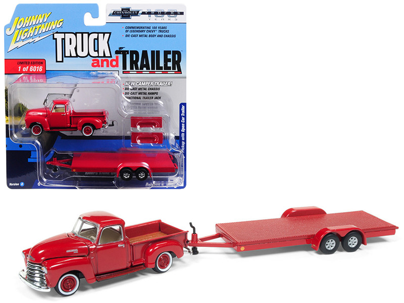 1950 Chevrolet Pickup Truck Gloss Red Open Car Trailer Limited Edition 6016 pieces Worldwide Truck and Trailer Series 2 Chevrolet Trucks 100th Anniversary 1/64 Diecast Model Car Johnny Lightning JLSP018