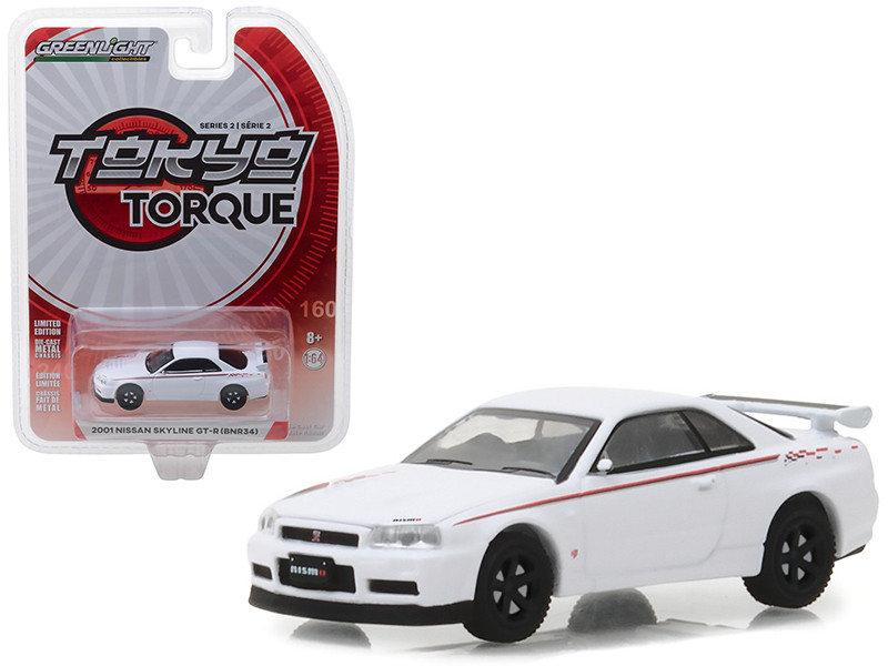 2001 Nissan Skyline GT-R BNR34 White Pearl Tokyo Torque Series 2 1/64 Diecast Model Car Greenlight 29900 E