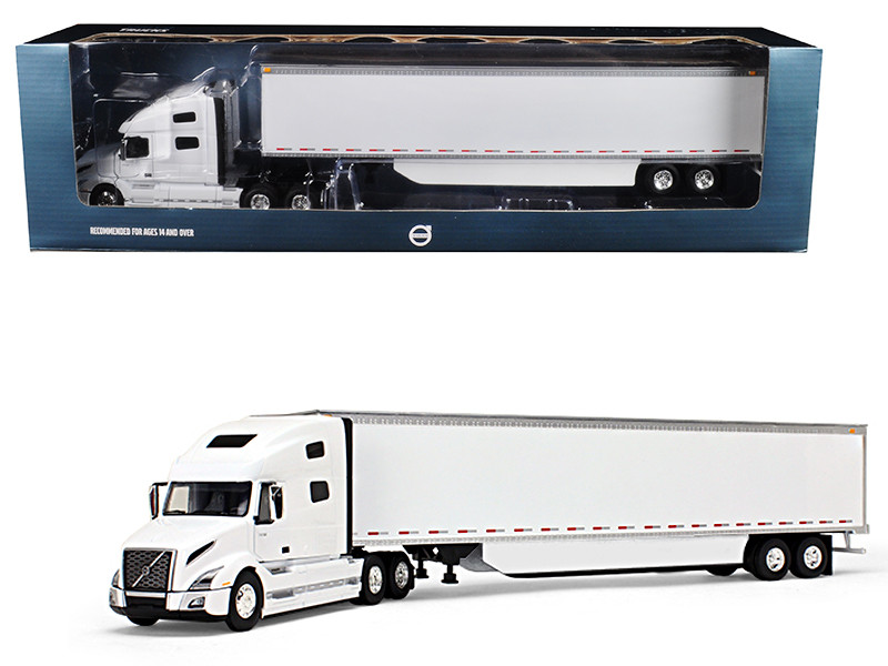 Volvo VNL 760 Sleeper Cab with 53\' Trailer with Side Skirts White 1/50 Diecast Model by First Gear