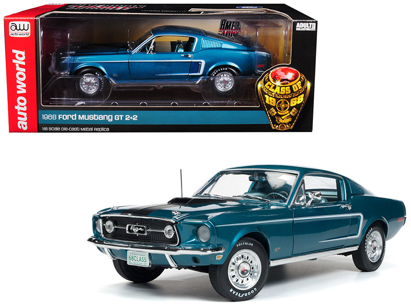 1968 Ford Mustang GT 2+2 Aqua Blue Class of 68 50th Anniversary Limited Edition 1002 pieces Worldwide 1/18 Diecast Model Car Autoworld AMM1132