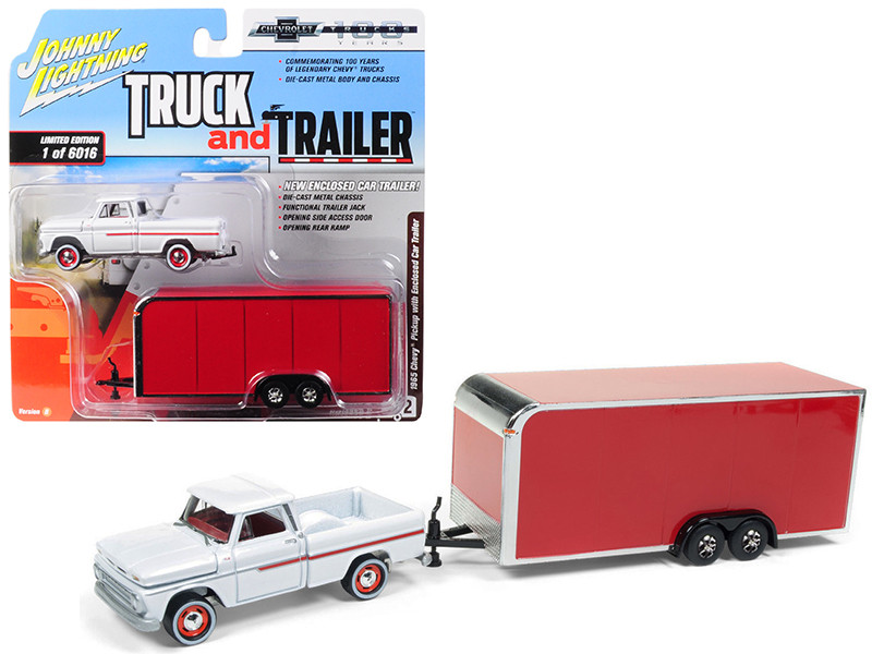 1965 Chevrolet Pickup Truck White Enclosed Red Car Trailer Limited Edition 6016 pieces Worldwide Truck and Trailer Series 2 Chevrolet Trucks 100th Anniversary 1/64 Diecast Model Car Johnny Lightning JLSP020