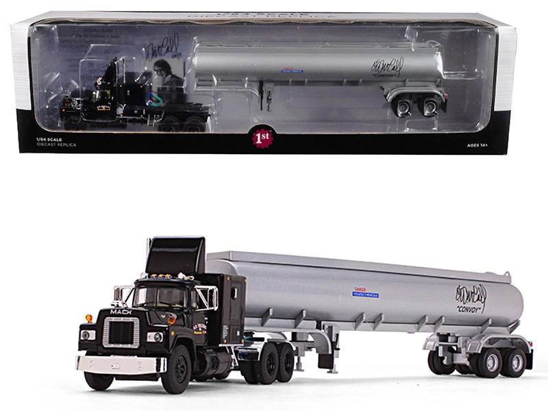 Mack R Model Black Sleeper Cab 42' Fuel Tanker Trailer R D Trucking Inc Convoy 1978 Movie 1/64 Diecast Model First Gear 60-0378