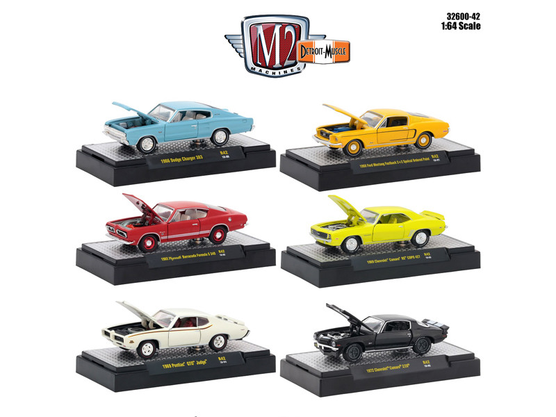 Detroit Muscle 6 Cars Set Release 42 DISPLAY CASES 1/64 Diecast Model Cars M2 Machines 32600-42