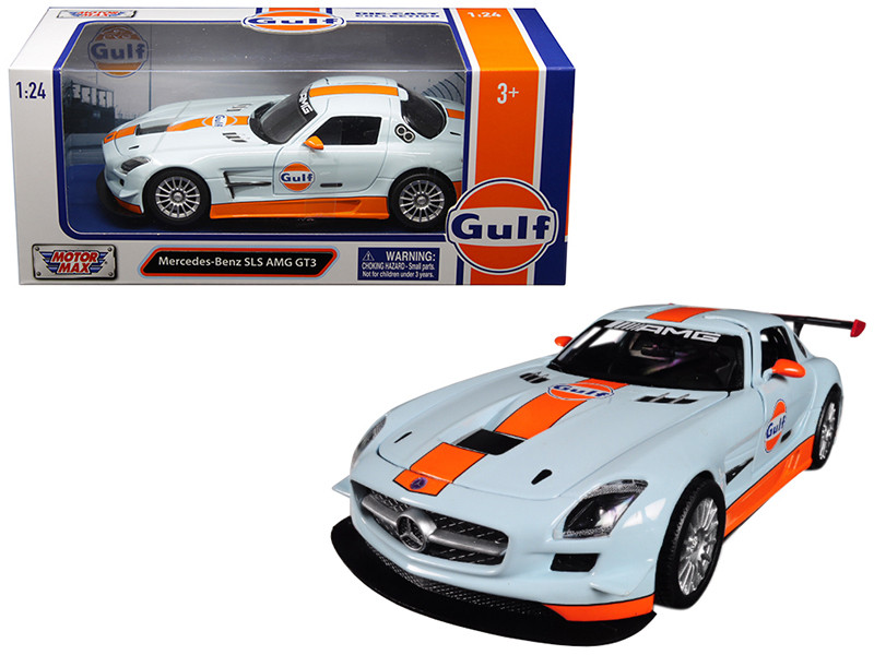 Mercedes Benz SLS AMG GT3 Gulf Light Blue Orange Stripe 1/24 Diecast Model Car Motormax 79646