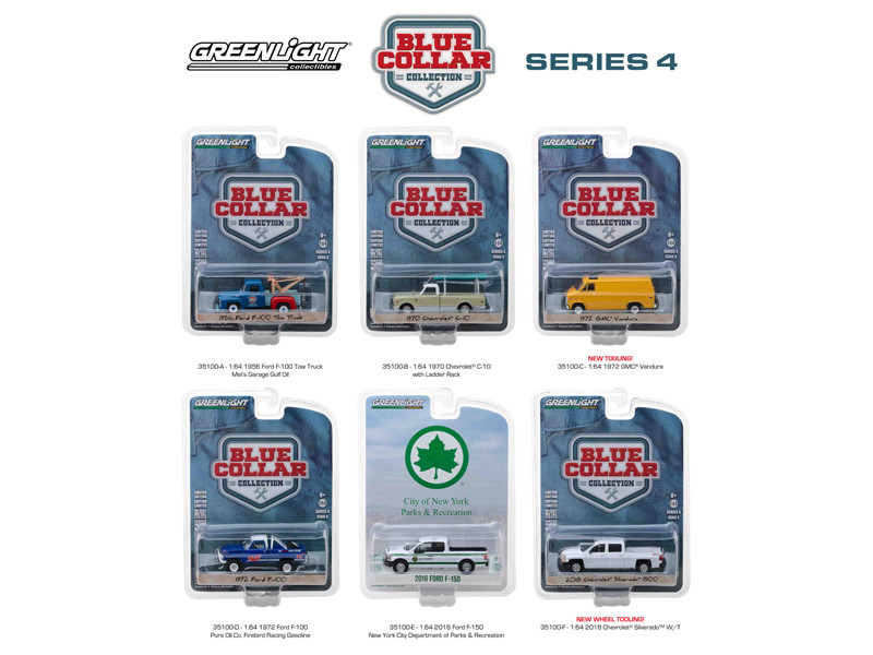 Blue Collar Collection Series 4 6pc Set 1/64 Diecast Model Cars Greenlight 35100