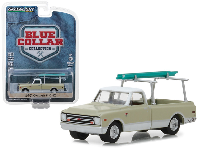 1970 Chevrolet C-10 Pickup Truck Cream Ladder Rack Blue Collar Collection Series 4 1/64 Diecast Model Car Greenlight 35100 B