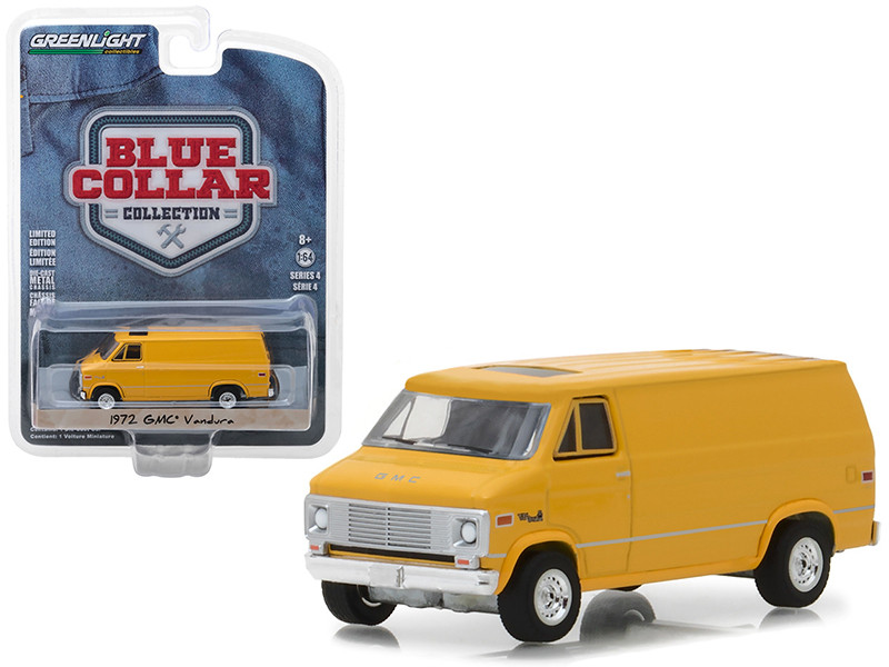 1972 GMC Vandura Yellow Blue Collar Collection Series 4 1/64 Diecast Model Car Greenlight 35100 C