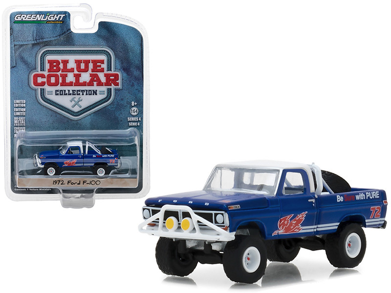 1972 Ford F-100 Pickup Truck Pure Oil Co Firebird Racing Gasoline Blue Collar Collection Series 4 1/64 Diecast Model Car Greenlight 35100 D