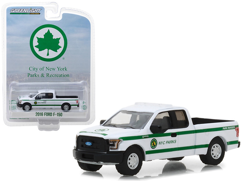 2016 Ford F-150 Pickup Truck White New York City Department Parks Recreation Blue Collar Collection Series 4 1/64 Diecast Model Car Greenlight 35100 E