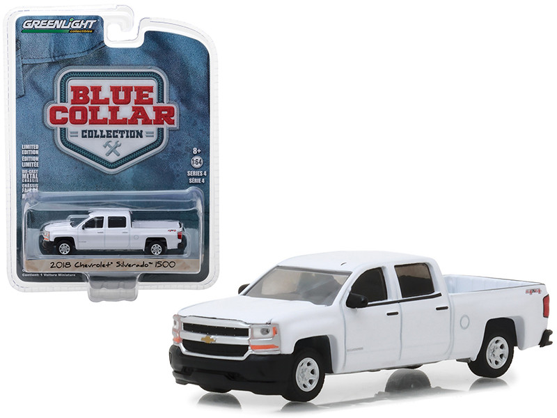 2018 Chevrolet Silverado 1500 Pickup Truck White Blue Collar Collection Series 4 1/64 Diecast Model Car by Greenlight