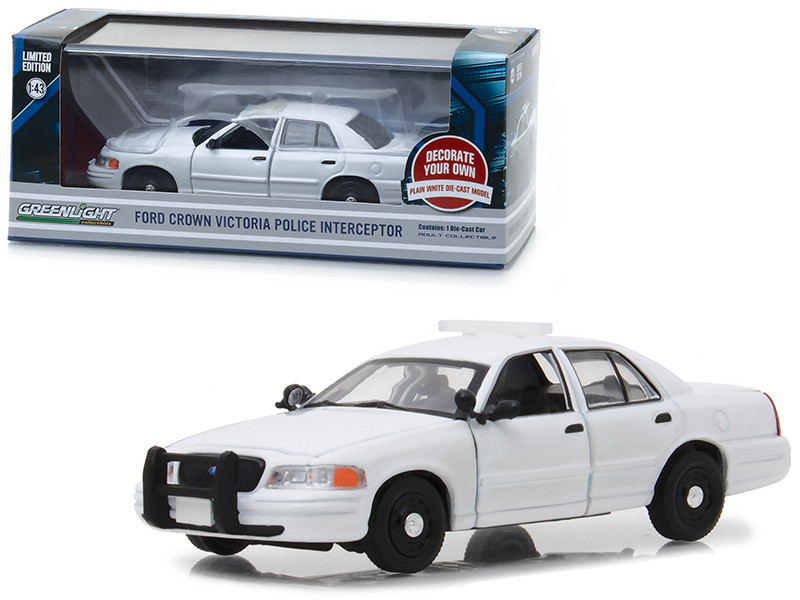 Ford Crown Victoria Police Interceptor Plain White 1/43 Diecast Model Car by Greenlight