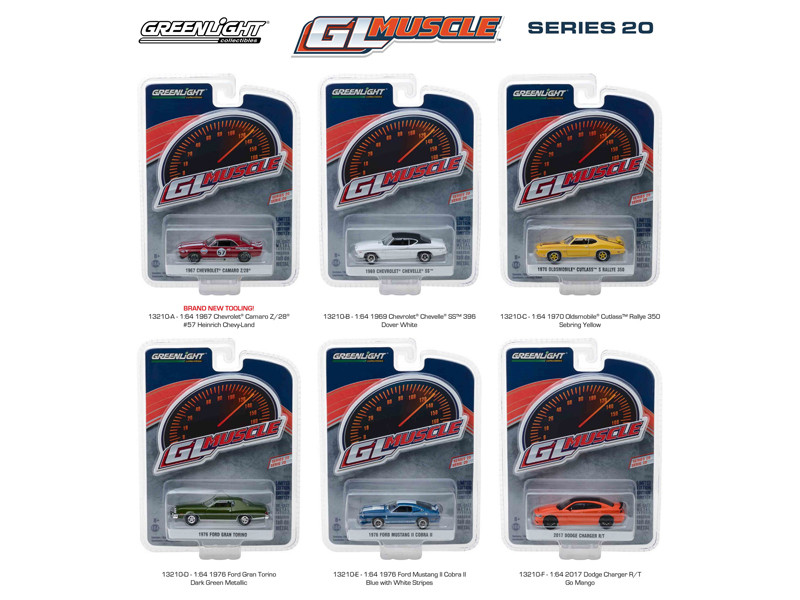 Greenlight Muscle Series 20 6pc Set 1/64 Diecast Model Cars Greenlight 13210