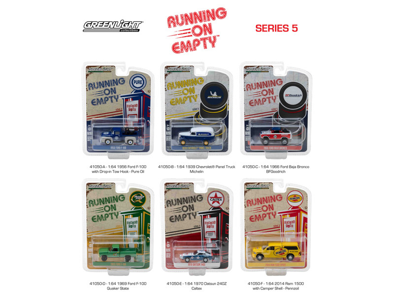 Running on Empty Series 5 6pc Set 1/64 Diecast Model Cars Greenlight 41050