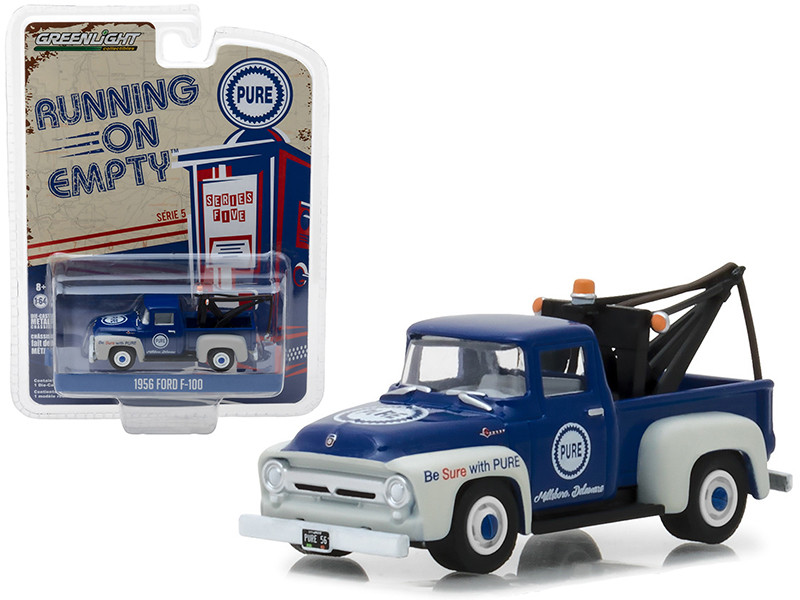 1956 Ford F-100 Tow Truck Blue Drop-in Tow Hook Pure Oil Running on Empty Series 5 1/64 Diecast Model Car Greenlight 41050 A