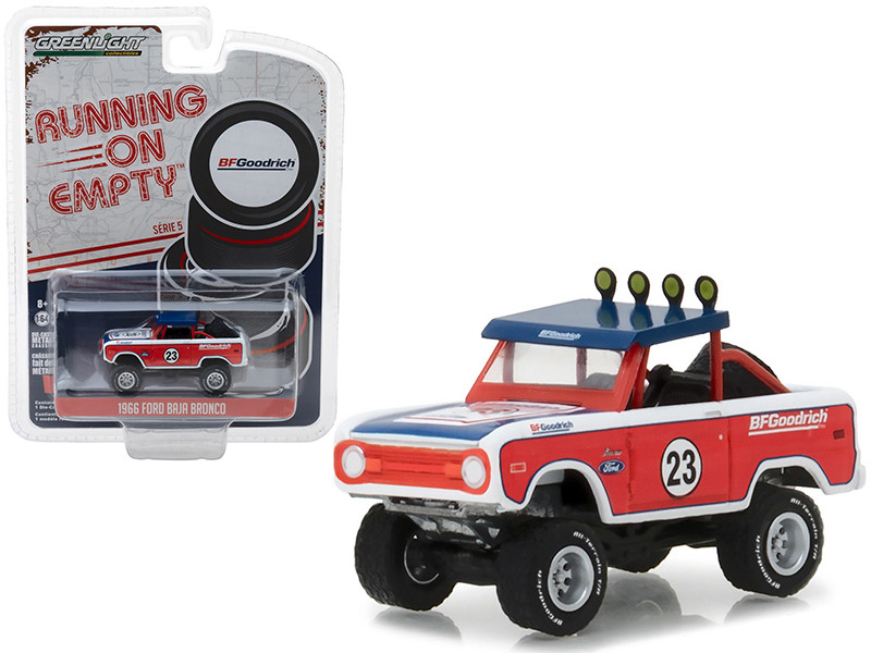 1966 Ford Baja Bronco Off-Road Truck #23 BFGoodrich Tires Running on Empty Series 5 1/64 Diecast Model Car Greenlight 41050 C