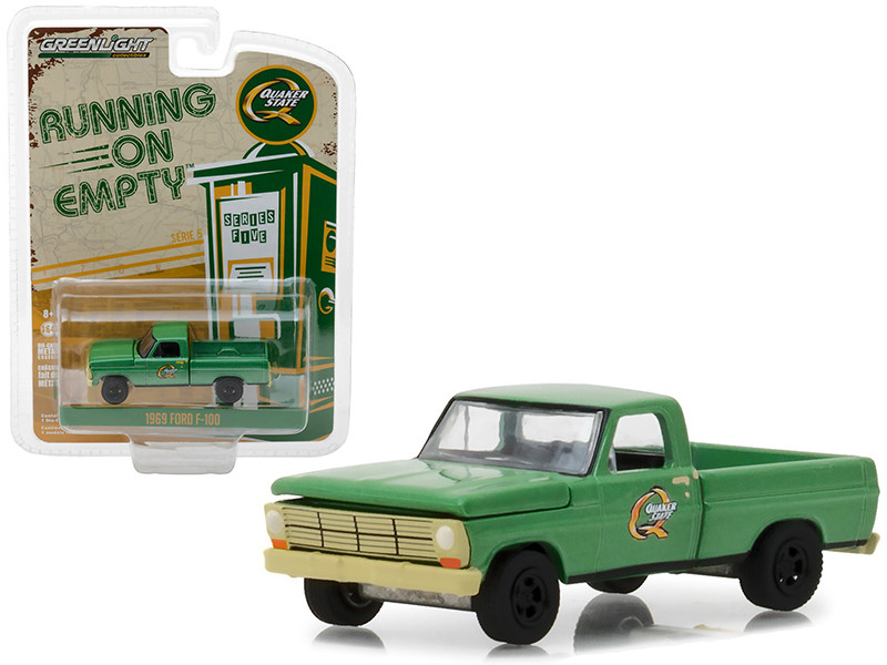 1969 Ford F-100 Pickup Truck Quaker State Green Running on Empty Series 5 1/64 Diecast Model Car Greenlight 41050 D