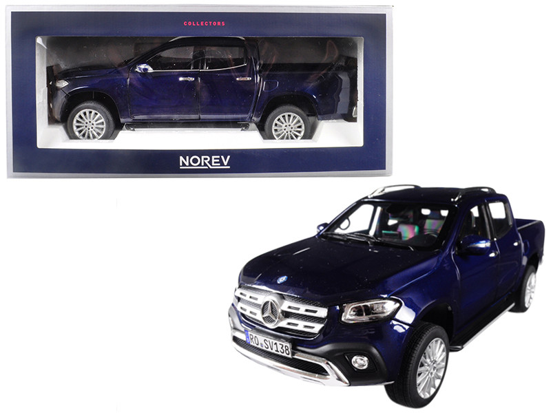 2017 Mercedes Benz X Class Pickup Truck Dark Blue Metallic 1/18 Diecast Model Car Norev 183421