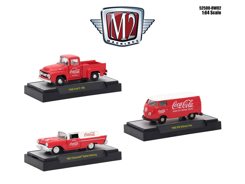 Coca-Cola Release 2 Set 3 Cars Limited Edition 4800 pieces Worldwide Hobby Exclusive 1/64 Diecast Models M2 Machines 52500-RW02