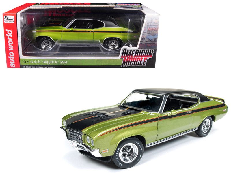 1971 Buick Skylark GSX Limemist Green Black Hardtop Black Stripes Hemmings Muscle Machines Magazine Limited Edition 702 pieces Worldwide 1/18 Diecast Model Car Autoworld AMM1117