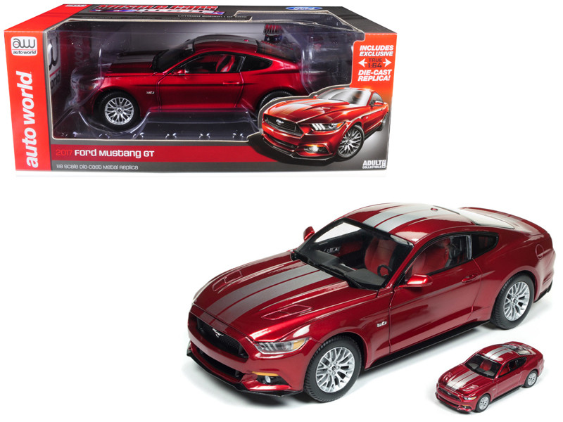 2017 Ford Mustang 5.0 GT Ruby Red Metallic Silver Stripes 1/18 1/64 2 Cars Set Limited Edition 1002 pieces Worldwide Diecast Model Cars Autoworld AW245