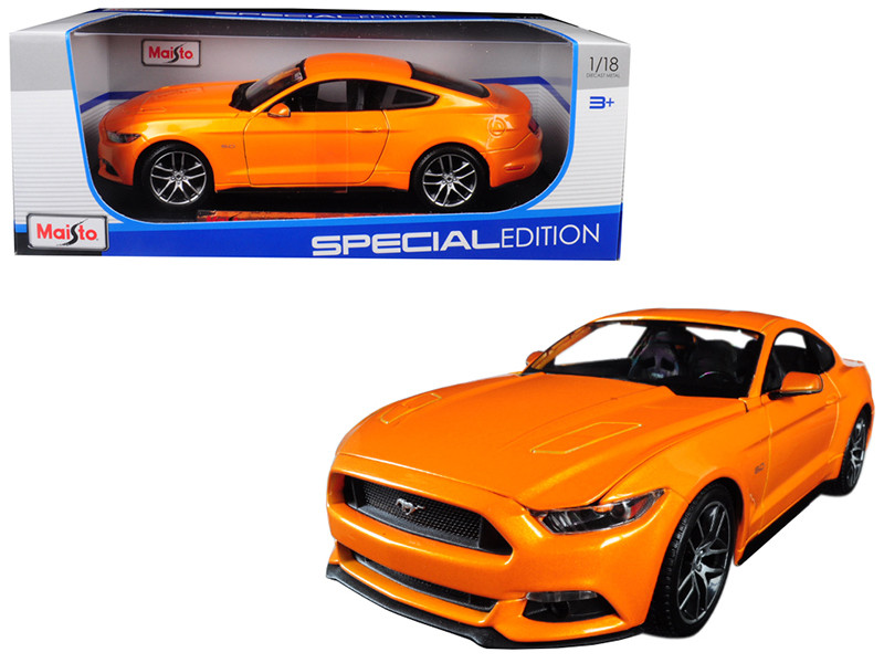 2015 Ford Mustang GT 5.0 Metallic Orange Special Edition 1/18 Diecast Model Car Maisto 31197