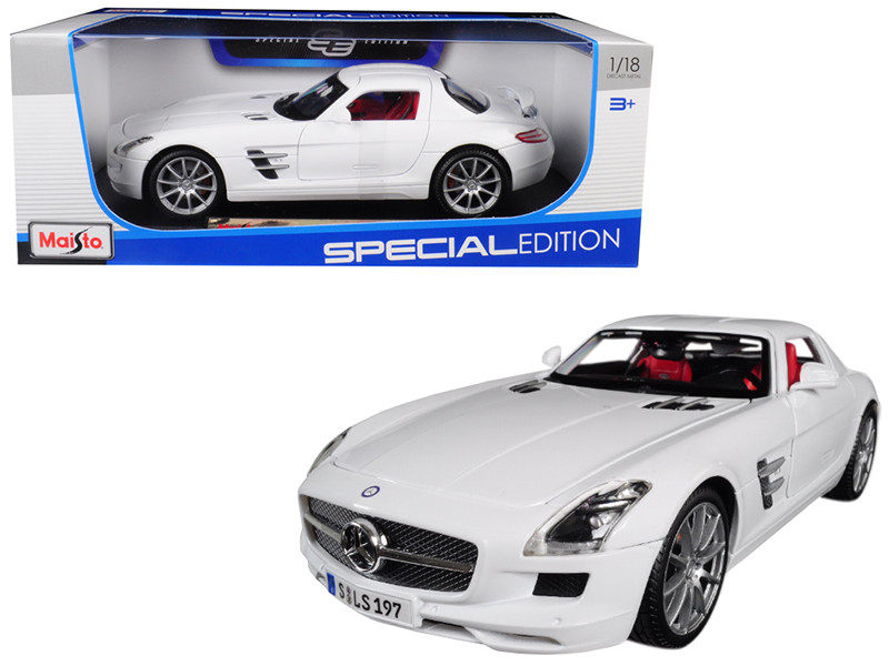 Mercedes Benz SLS AMG White Red Interior 1/18 Diecast Model Car Maisto 36196