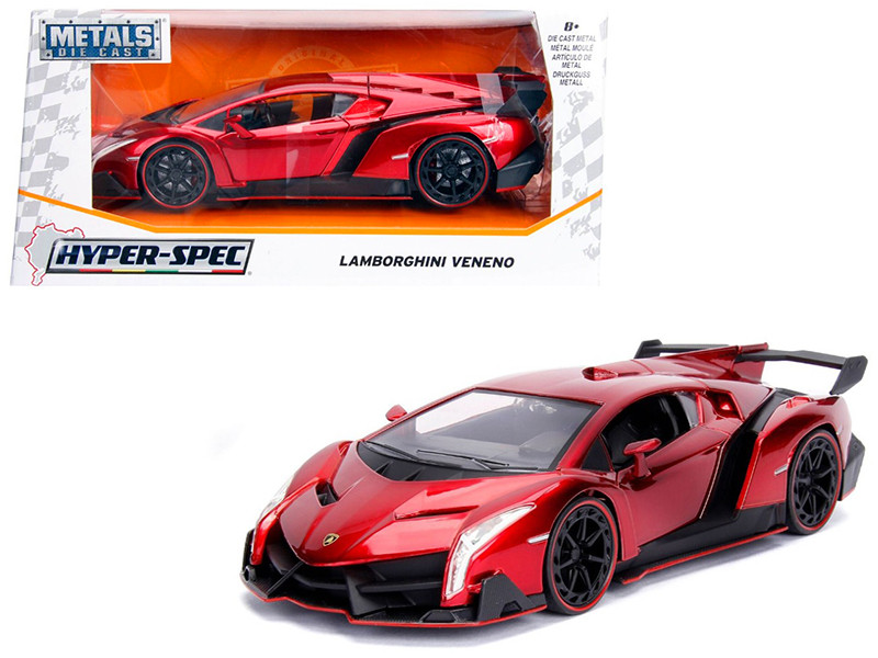 Lamborghini Veneno Candy Red 1/24 Diecast Model Car Jada 99325