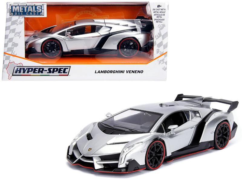 Lamborghini Veneno Candy Silver 1/24 Diecast Model Car Jada 99706