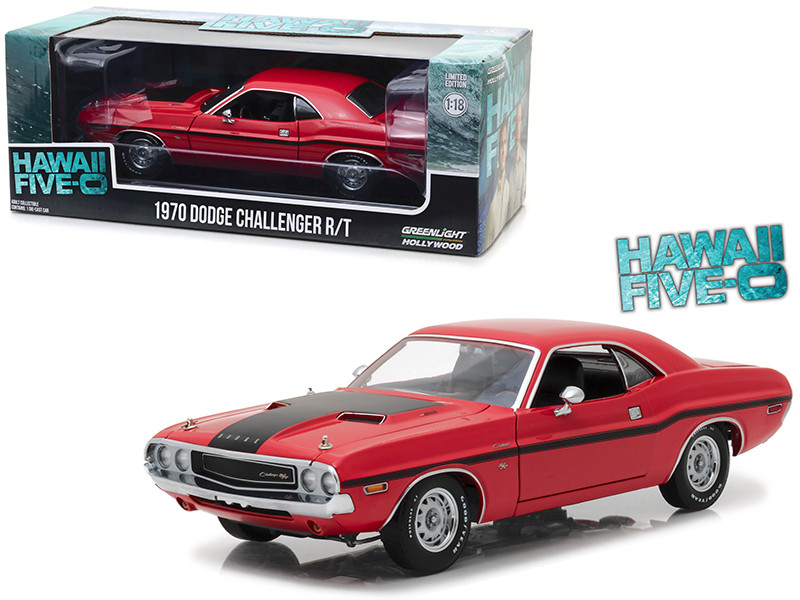 1970 Dodge Challenger R/T Red Black Stripes Hawaii Five-0 2010 TV Series 1/18 Diecast Model Car Greenlight 13516