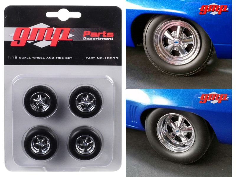 Wheels Tires Set 4 pieces 1969 Chevrolet Camaro 1320 Drag Kings 1/18 GMP 18877