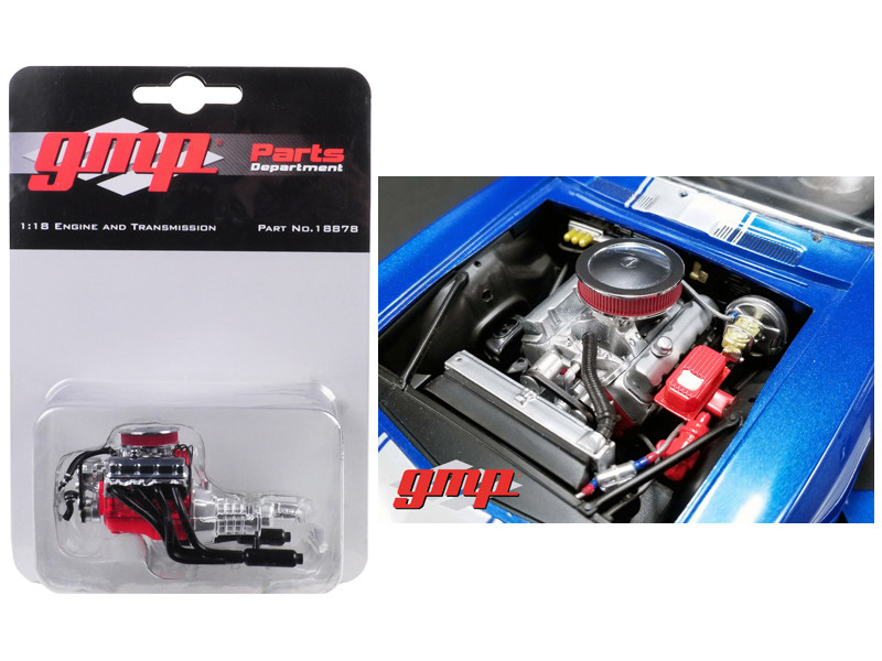 Engine Transmission Replica Big Block Chevrolet Drag Engine 1969 Chevrolet Camaro 1/18 GMP 18878