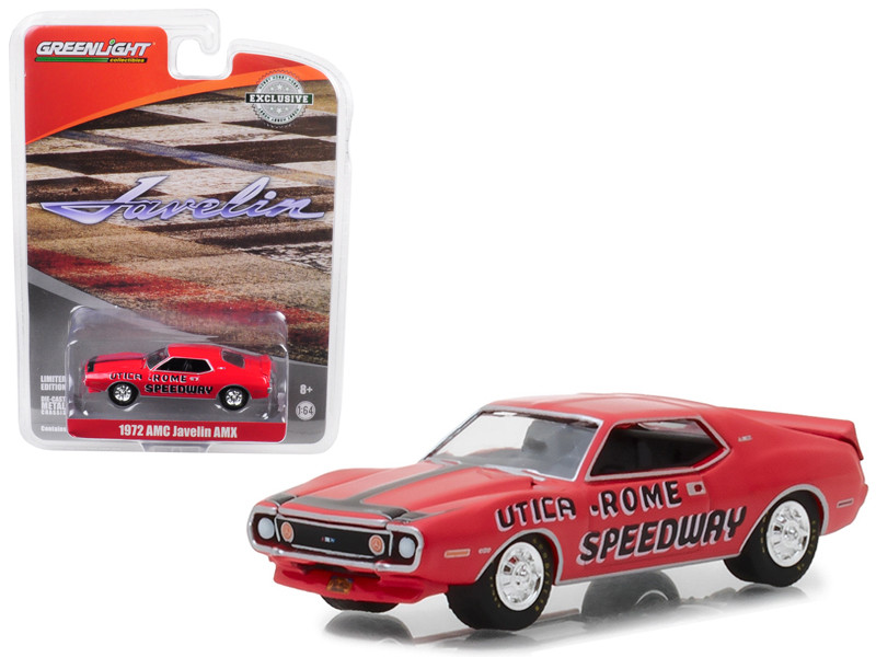 1972 AMC Javelin AMX Red Utica Rome Speedway Vernon New York Official Pace Car Hobby Exclusive 1/64 Diecast Model Car Greenlight 29948