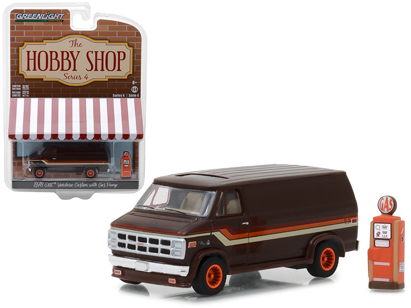 978 GMC Vandura Custom Brown Gas Pump The Hobby Shop Series 4 1/64 Diecast Model Car Greenlight 97040 D