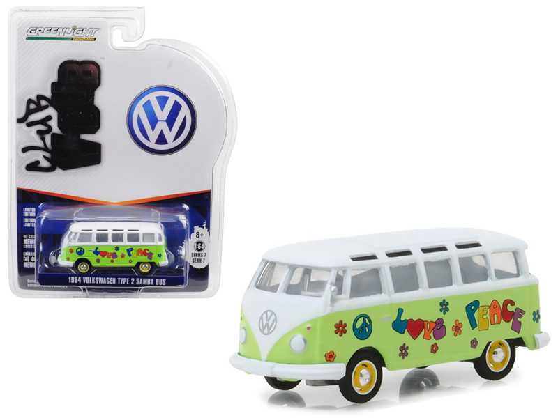 1964 Volkswagen Type 2 Samba Bus Hippie Peace Love Light Green Top Series 7 Club Vee Dub 1/64 Diecast Model Car Greenlight 29920 C