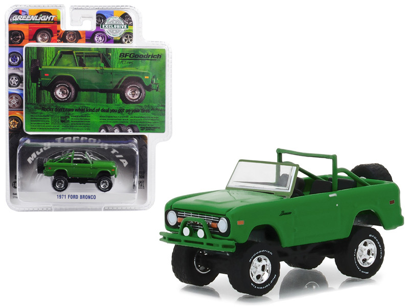 "1971 Ford Bronco ""Take Control"" Green BFGoodrich Vintage Ad Cars Hobby Exclusive 1/64 Diecast Model Car by Greenlight"