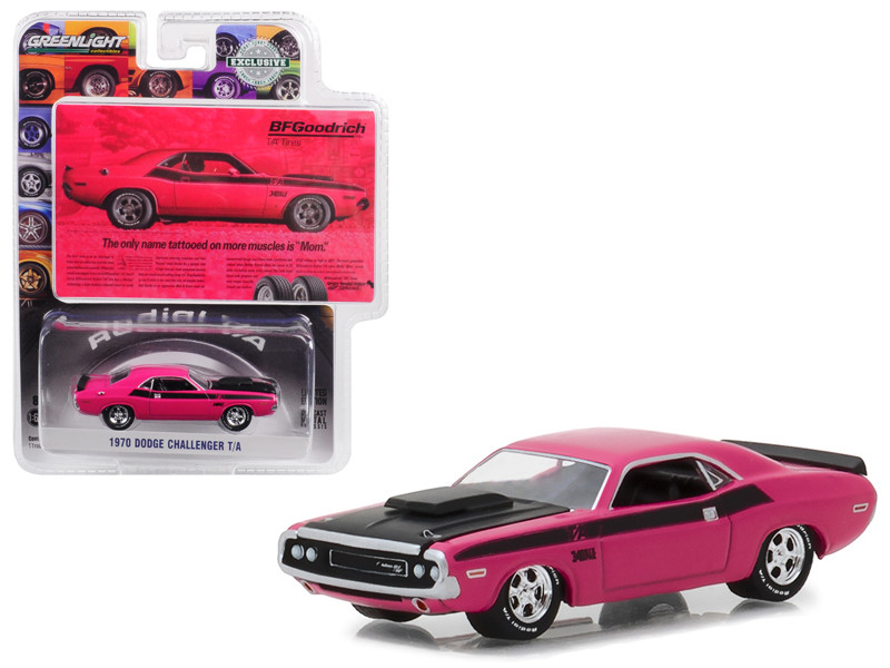 "1970 Dodge Challenger Pink ""The Only Name Tattooed on More Muscles is Mom"" BFGoodrich Vintage Ad Cars Hobby Exclusive 1/64 Diecast Model Car by Greenlight"
