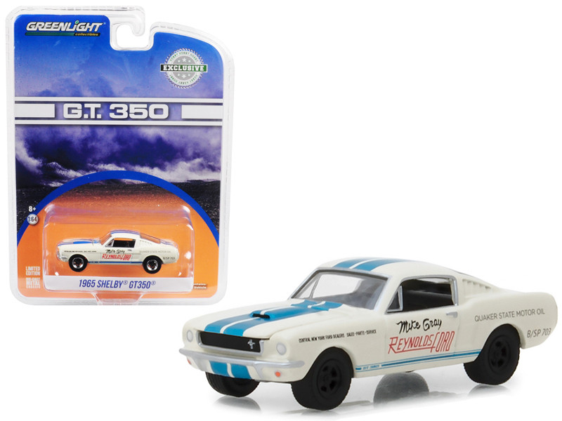 1965 Ford Mustang Shelby GT350 White with Blue Stripes Reynolds Ford Super Horse driven Mike Gray Hobby Exclusive 1/64 Diecast Model Car Greenlight 29949