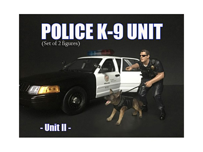 Police Officer Figure K9 Dog Unit II 1/18 Scale Models American Diorama 38164