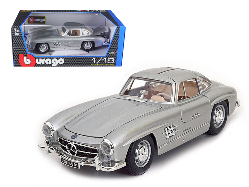 1954 Mercedes 300 SL Gullwing Silver 1/18 Diecast Model Car Bburago 12047