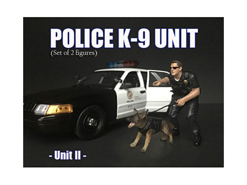 Police Officer Figure K9 Dog Unit II 1/24 Scale Models American Diorama 38264