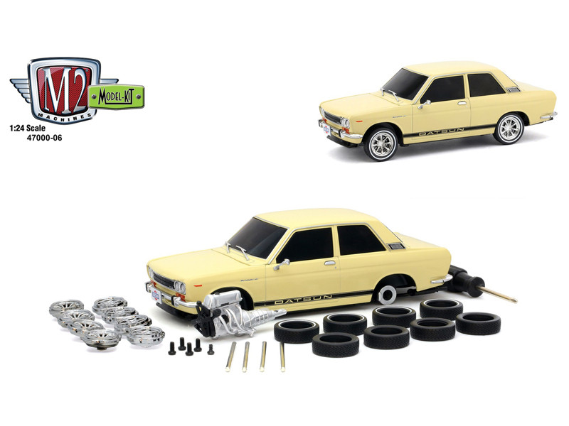 1970 Datsun 510 Cream Black Stripes Model Kit Limited Edition 2400 pieces Worldwide 1/24 Diecast Model Car M2 Machines 47000-06